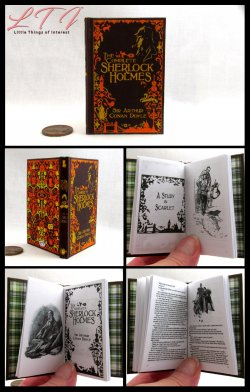 THE COMPLETE SHERLOCK HOLMES Illustrated Readable Miniature Scale Book