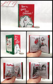 HOW THE GRINCH STOLE CHRISTMAS Illustrated Readable Miniature Scale Book Dr Seuss