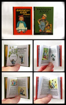 RAGGEDY ANN & RAGGEDY ANDY SET 2 Illustrated Readable Miniature Scale Books