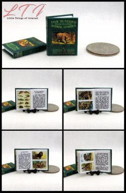 FIVE HUNDRED ANIMAL STORIES Miniature One Inch Scale Readable Illustrated Book