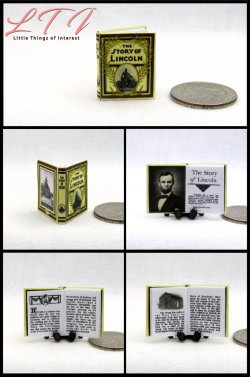 ABRAHAM LINCOLN Miniature One Inch Scale Illustrated Readable Book