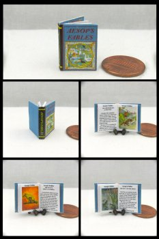AESOP'S FABLES Miniature One Inch Scale Illustrated Readable Book
