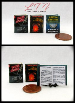 AGATHA CHRISTIE FAVORITES 3 Miniature One Inch Scale Readable Books