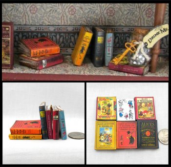 ALICE IN WONDERLAND 6 Miniature One Inch Scale Prop Faux Books