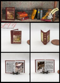 ALICE'S ADVENTURES IN WONDERLAND Miniature One Inch Scale Illustrated Readable Book Red