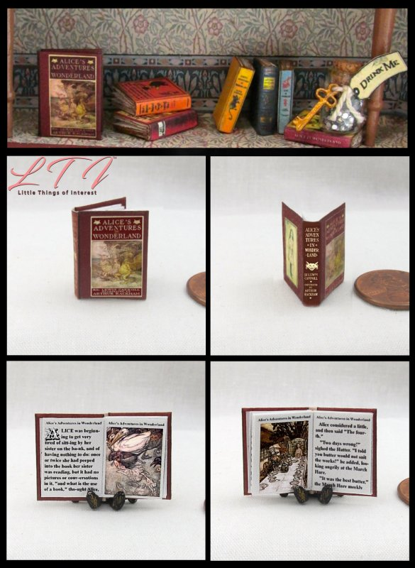1:6 SCALE MINIATURE BOOK ALICE'S ADVENTURES IN WONDERLAND COMPLETE RACKHAM