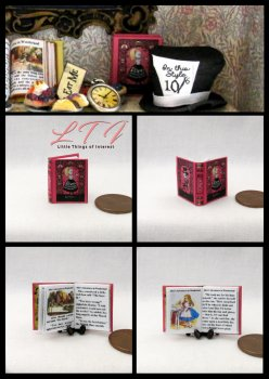 ALICE'S ADVENTURES IN WONDERLAND Miniature One Inch Scale Readable Illustrated Book Tenniel Pink