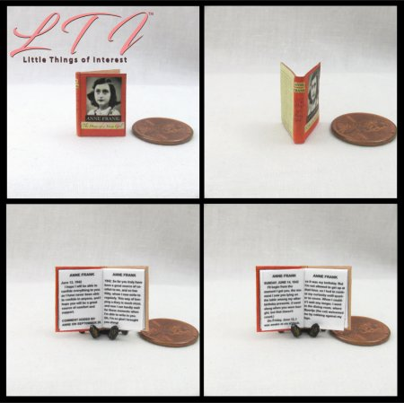 ANNE FRANK DIARY OF A YOUNG GIRL Miniature Scale Readable Book