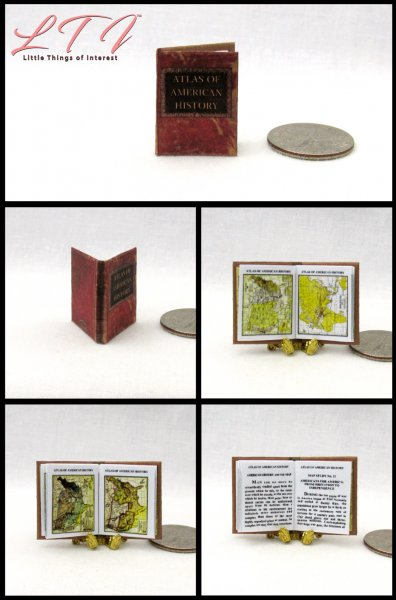 ATLAS of AMERICAN HISTORY Miniature One Inch Scale Readable Illustrated Book