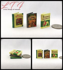 BEST LOVED CLASSIC FAIRY TALES SET 3 Miniature One Inch Scale Readable Illustrated Books Alice in Wonderland Grimm's Fairy Tales Wizard of Oz