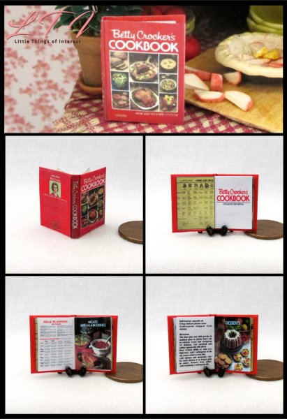 BETTY CROCKER'S COOKBOOK Miniature Scale Readable Illustrated Book