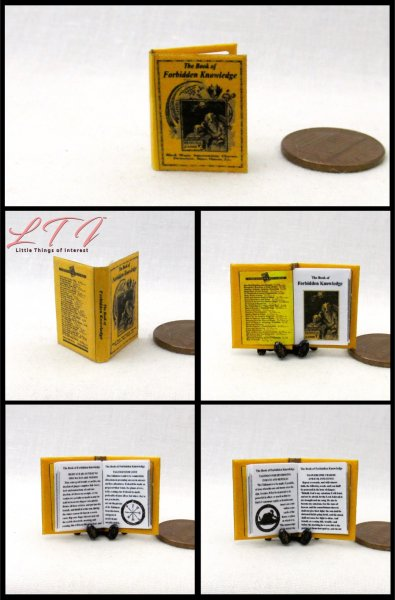 BOOK of FORBIDDEN KNOWLEDGE Miniature One Inch Scale Readable Illustrated Book