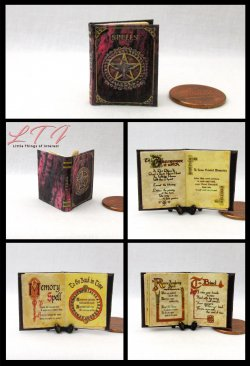 BOOK of SHADOWS Magic Spell Book Miniature One Inch Scale Illustrated Book