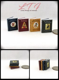 BEATRIX POTTER BOOK SET 4 Miniature One Inch Scale Readable Illustrated Books