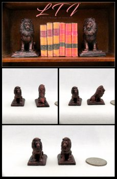 BRONZE LION MINIATURE BOOKENDS Set of 2 Miniature One Inch Scale Decor Bookends