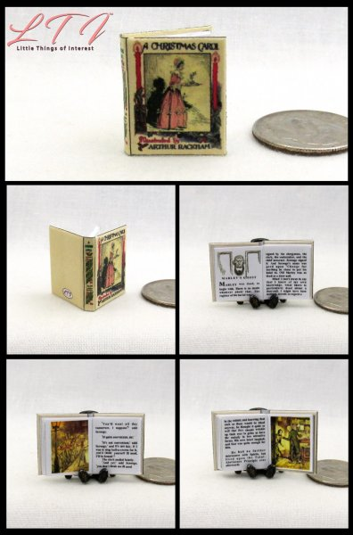 A CHRISTMAS CAROL Illustrated Miniature One Inch Scale Book Rackham