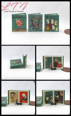 DENSLOW'S CHILDREN'S BOOKS 3 Miniature One Inch Scale Illustrated Readable Books The Abc Book Humpty Dumpty The 5 Little Pigs