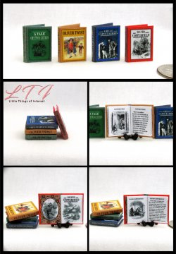 CHARLES DICKENS CLASSICS SET 4 Miniature One Inch Scale Readable Illustrated Books Tale Two Cities Great Expectations Oliver Twist Copper field