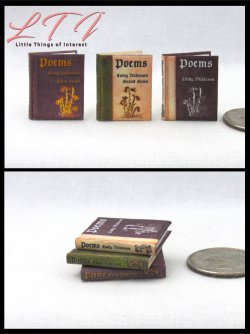 POEMS by EMILY DICKINSON SET 3 Miniature One Inch Scale Readable Books