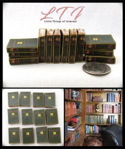 ENCYCLOPEDIA BOOKS Set of 12 Prop Books in Miniature One Inch Scale