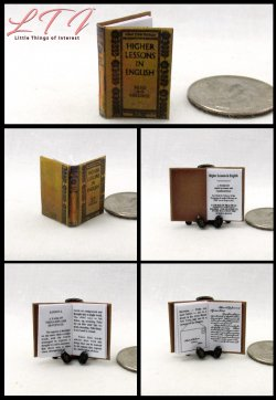 ENGLISH TEXTBOOK Higher Lessons In Learning Miniature One Inch Scale Readable Book