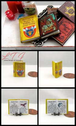 FANTASTIC BEASTS AND WHERE TO FIND THEM Miniature One Inch Scale Illustrated Readable Book