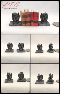 GARGOYLE MINIATURE BOOKENDS One Inch Scale