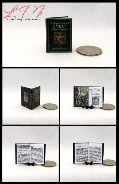 HAMLET A TRAGEDY Miniature One Inch Scale Readable Book by William Shakespeare