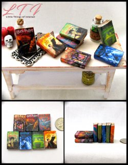 POPULAR BOY WIZARD SERIES Miniature Scale Set of 7 Prop Faux Books