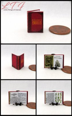 HERBAL REMEDIES Miniature One Inch Scale Readable Illustrated Book