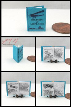 A HISTORY Of AIRPLANES Dollhouse Miniature Scale Readable Illustrated Book