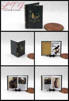 A HISTORY OF BIRDS Dollhouse Miniature Scale Readable Illustrated Book