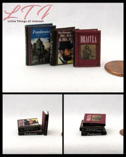 CLASSIC HORROR NOVELS 3 Miniature One Inch Scale Readable Illustrated Books Dracula Frankenstein Dr Jekyll Myr Hyde