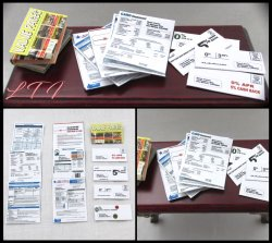 JUNK MAIL BILLS in Miniature Scale