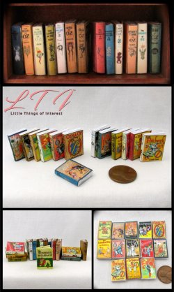 LAND OF OZ Set of 13 Prop Books in Miniature One Inch Scale Wizard Oz Dorothy Scarecrow Lion Emerald City Tin Man