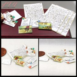 LETTER SET in Miniature One Inch Scale Vintage Victorian Style Mail