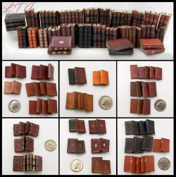 LIBRARY BOOKS 72 Miniature One Inch Scale Prop Faux Books