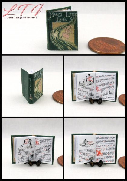 MARY'S LITTLE LAMB Miniature One Inch Scale Readable Illustrated Book