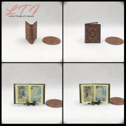 MEDIEVAL ILLUMINATED Book of Hours Miniature One Inch Scale Readable Illustrated Book