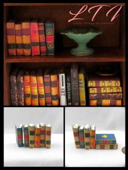 OLD LEGAL BOOKS 6 Miniature One Inch Scale Prop Faux Books