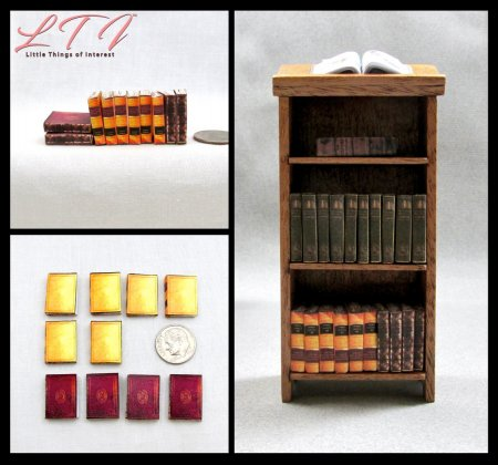 OLD REFERENCE BOOKS SET 10 Miniature Prop Faux Books