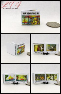 WHERE THE WILD THINGS ARE Miniature One Inch Scale Readable Illustrated Book