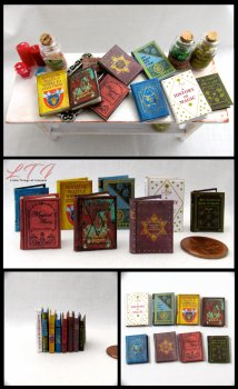 1st YEAR WIZARD STUDENTS Textbooks Dollhouse Miniature Scale Readable Illustrated Books Popular Boy Wizard Potter