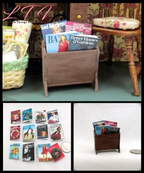 4 WOMEN'S MAGAZINES Miniature Dollhouse Scale Prop Books Ladies Bazaar Good Housekeeping Better Homes Garden