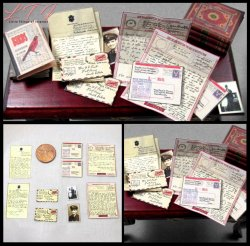 WWII LOVE LETTERS in Dollhouse Miniature One Inch Scale