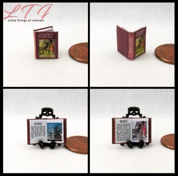 AESOP'S FABLES Dollhouse Miniature Scale Illustrated Book