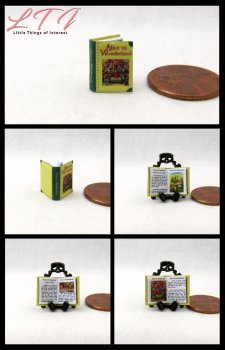 ALICE IN WONDERLAND Dollhouse Miniature Scale Illustrated Book
