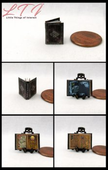 BOOK OF INCANTATIONS Dollhouse Miniature Half Inch Scale Illustrated Book