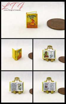 CHARLOTTE'S WEB Dollhouse Miniature Half Inch Scale Illustrated Book