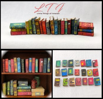 DUSTY OLD BOOKS 21 Prop Books Dollhouse Miniature Half Inch Scale